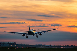 London Heathrow, September 19th 2015. An Airbus A330 lands as the sun sets at London's Heathrow Airport
