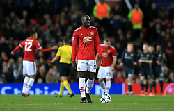 Manchester United's Romelu Lukaku appears dejected after CSKA Moscow's Alan Dzagoev scores his side's first goal of the game