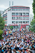 "Chanting ""Allah-Akbar"" (God is Great) around 1,000 people have rallied in Kosovo's capital of Pristina in a protest demanding space for a new mosque, Friday, Sept 2, 2011. (Photo/ Vudi Xhymshiti)"