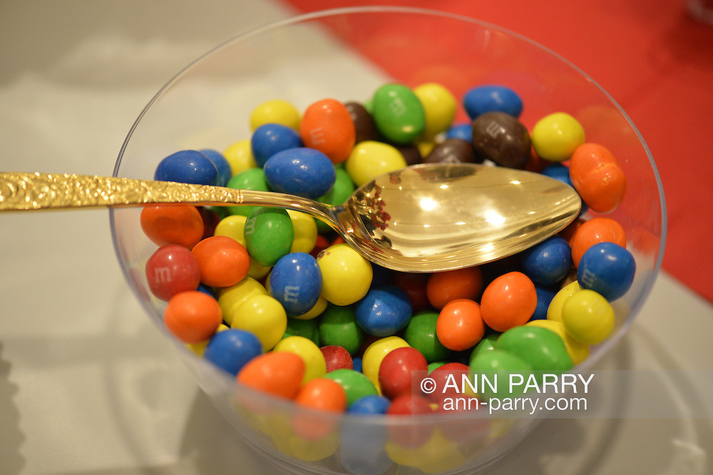 Bowl of M&M chocolate candies, at Fotofoto Gallery Opening Reception, on November 8, 2014, at Huntington, Long Island, New York, USA