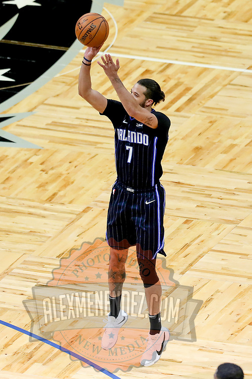 ORLANDO, FL - APRIL 07: Michael Carter-Williams #7 of the Orlando Magic shoots the ball against the Washington Wizards at Amway Center on April 7, 2021 in Orlando, Florida. NOTE TO USER: User expressly acknowledges and agrees that, by downloading and or using this photograph, User is consenting to the terms and conditions of the Getty Images License Agreement. (Photo by Alex Menendez/Getty Images)*** Local Caption *** Michael Carter-Williams