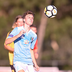 BRISBANE, AUSTRALIA - JANUARY 27: Lachlan Sayers of City in action during the Kappa Silver Boot Third Place match between Moreton Bay United and Brisbane City on January 27, 2018 in Brisbane, Australia. (Photo by Patrick Kearney)