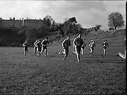 Ireland Soccer Team Training.1983.14.11.1983.11.14.1983.14th November 1983..The Ireland Soccer team trained, for the forthcoming match against Malta, at Stewarts Hospital, Palmerstown Dublin..Picture of some of the players jogging include, Kevin Moran, Frank Stapleton, Seamus McDonagh, Chris Hughton and Kevin Sheedy.