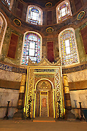 The 19th century Mihrap (Mihrab), the niche in a mosque that indicated the direction of Mecca, Hagia Sophia ( Ayasofya ) , Istanbul, Turkey .<br /> <br /> If you prefer to buy from our ALAMY PHOTO LIBRARY  Collection visit : https://www.alamy.com/portfolio/paul-williams-funkystock/hagia-sophia-istanbul.html<br /> <br /> Visit our TURKEY PHOTO COLLECTIONS for more photos to download or buy as wall art prints https://funkystock.photoshelter.com/gallery-collection/3f-Pictures-of-Turkey-Turkey-Photos-Images-Fotos/C0000U.hJWkZxAbg