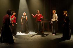 "© Copyright licensed to London News Pictures. 03/11/2010. L to R - Faroque Khan (Malcolm), Kacper Kuszewski (Banquo), Anna Zubrzycki (Lady Macbeth), Anu Salonen (Witch),Gabriel Gawin (Macbeth), Ewan Downie (Malcolm), Ian Morgan (Macduff).Song of the Goat Theatre present ""Macbeth"" as part of the bite 10 season at the Barbican, London."