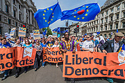 The Lib Dems enter Parliament Square chanting Where's Jeremy Corbyn - People's March for a People's Vote on the final Brexit deal.  Timed to coincide with the second anniversary of the 2016 referendum it is organised by anti Brexit, pro EU campaigners.