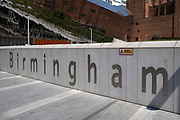 Sign for Birmingham outside Grand Central in the city centre on 2nd June 2021 in Birmingham, United Kingdom. Birmingham is a major city in England's West Midlands region, and known as Britains second city.