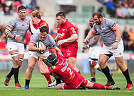 Southern Kings' Michael Willemse is tackled by Scarlets' Ryan Elias (2).<br /> Guinness Pro14 rugby match, Scarlets v Southern Kings at the Parc y Scarlets in Llanelli, Carms, Wales on Saturday 2nd September 2017.<br /> pic by Craig Thomas, Andrew Orchard sports photography.