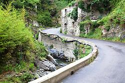 Curvy Road, creek, Vernazza, Cinque Terre, Italy
