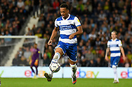 QPR forward Chris Willock (21) sprints forward with the ball during the EFL Sky Bet Championship match between West Bromwich Albion and Queens Park Rangers at The Hawthorns, West Bromwich, England on 24 September 2021.