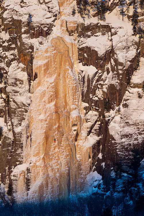 Etienne Rancourt soloing the ice climb Topaze 110m WI4 in Maurice, Quebec, Canada