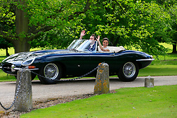 UK ENGLAND ENGLEFIELD 20MAY17 - Newlyweds Pippa Middleton & James Matthews leave in a classic Jaguar E-Type cabriolet after their wedding ceremony at St Mark's church on the Englefield Estate in West Berkshire, England.<br /> <br /> jre/Photo by Jiri Rezac<br /> <br /> © Jiri Rezac 2017