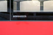 Bombardier Logo on a tram at the tram station at Fulpmes, a village and a municipality in Stubaital, Tyrol, Austria.