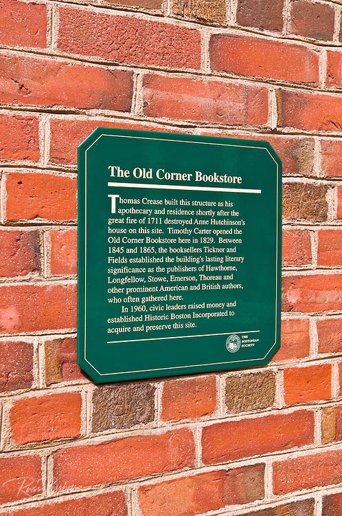 The Old Corner Bookstore on the Freedom Trail, Boston, Massachusetts