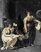 Architecture Is Represented In A Female Form, Sitting Upon The Pedestal Of A Pillar, With Various Tools And Instruments Around Her, Carefully Inspecting The Accuracy And Ingenuity Of A Design Which Lies In Her Lap. At Her Side the Figure of Reason, With a Helmet on Her Head, Pallas's Shield in Her Left Hand, And Mercury's Caduceus in Her Right. Astronomy Is Personified By A Beautiful Female As Urania, With A Silver Crescent, Clothed In An Azure Mantle Spangled With Stars; Her Eyes Intensely Fixed Upon The Starry Firmament; With An Astrolabe In Her Right Hand, And A Scroll, Containing Astronomical Figures, In Her Left. Machine colouresed Copperplate engraving From the Encyclopaedia Londinensis or, Universal dictionary of arts, sciences, and literature; Volume II;  Edited by Wilkes, John. Published in London in 1810