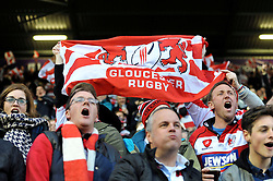 Gloucester Rugby fans show their support - Photo mandatory by-line: Patrick Khachfe/JMP - Mobile: 07966 386802 01/05/2015 - SPORT - RUGBY UNION - London - The Twickenham Stoop - Edinburgh Rugby v Gloucester Rugby - European Rugby Challenge Cup Final
