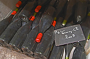 Bottles aging in the cellar. Gevrey 2003 magnum. Domaine Philippe Livera, Gevrey Chambertin, Cote de Nuits, d'Or, Burgundy, France