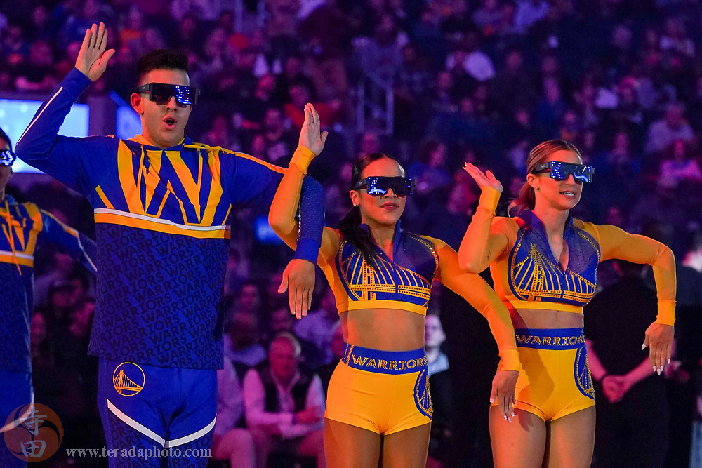 February 23, 2020; San Francisco, California, USA; Golden State Warriors Dance Team dancers Zeke, Courtney, and Megan during the first quarter against the New Orleans Pelicans at Chase Center.