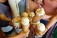 Ice Cream flavored with beer at Salt & Straw, an ice cream scoop shop in Portland, Oregon