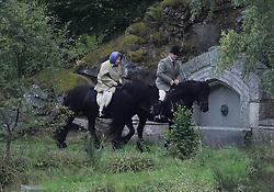 HRH Queen Elizabeth is seen enjoying an early morning horse ride on her Balmoral Estate in Scotland.<br /><br />10 September 2017.<br /><br />Please byline: IKM PICS/Jim Bennett/Vantagenews.com