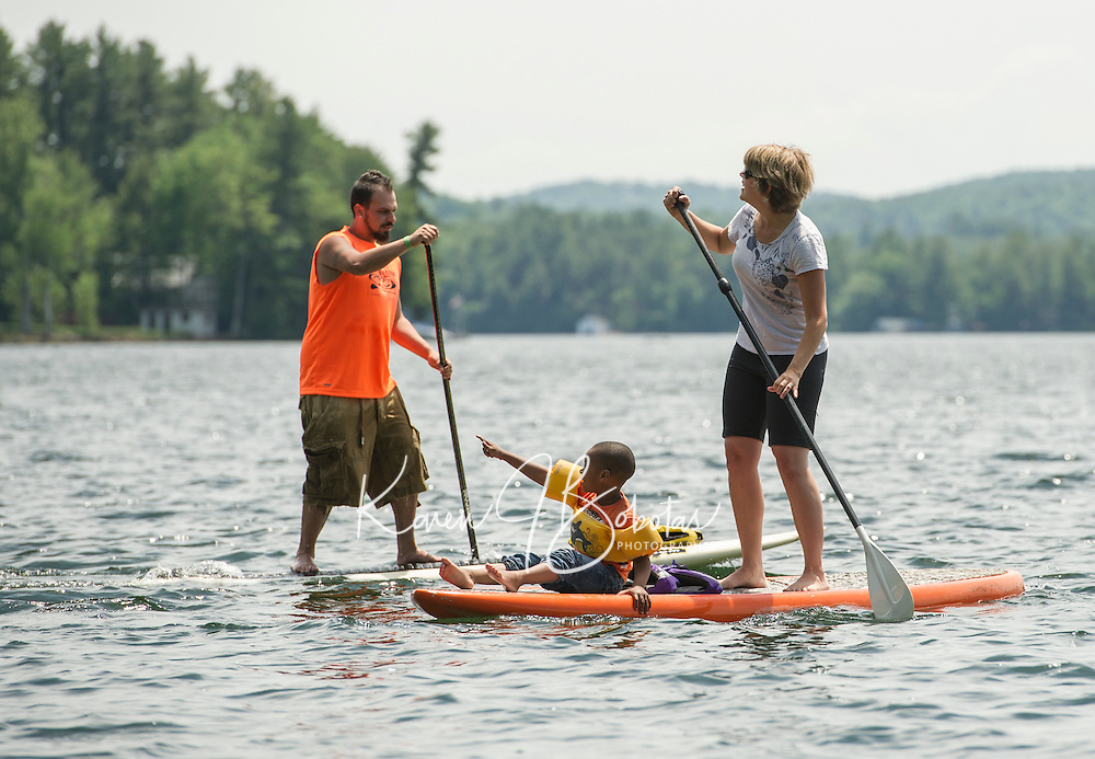 Stand up Paddle Boarding in Wolfeboro with Christopher Shields.  Karen Bobotas/Photographer