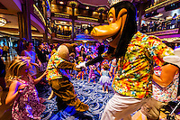 Goofy and Max Goof, Character dance party, in the lobby atrium on the new Disney Dream cruise ship sailing between Florida and the Bahamas.