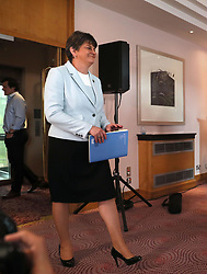"""DUP leader Arlene Foster at the Stormont Hotel in Belfast after Prime Minister Theresa May has announced that she will work with """"friends and allies"""" in the DUP to enable her to lead a government."""