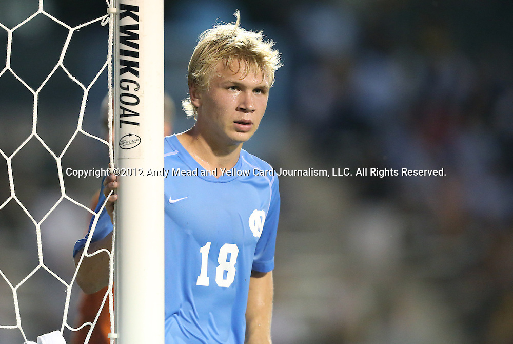 21 September 2012: UNC's Verneri Valimaa. The University of North Carolina Tar Heels defeated the University of Virginia Cavaliers 1-0 at Fetzer Field in Chapel Hill, North Carolina in a 2012 NCAA Division I Men's Soccer game.