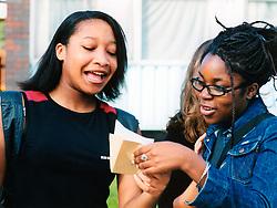 Students celebrating GCSE exam results; UK