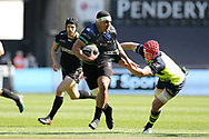 Josh Matavesi of the Ospreys looks to offload a pass while Leinster's Josh Van Der Flier (l) tackles. Guinness Pro12 rugby match, Ospreys v Leinster Rugby at the Liberty Stadium in Swansea, South Wales on Saturday 8th April 2017. <br /> pic by Andrew Orchard,