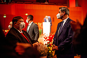 """Bavarian State Premier Markus Söder (left Bernd Posselt) arriving at the ceremony including the awarding of the European Charles Prize  during the 71st Sudeten German meeting at the """"Philharmonie im Gasteig"""" in Munich."""