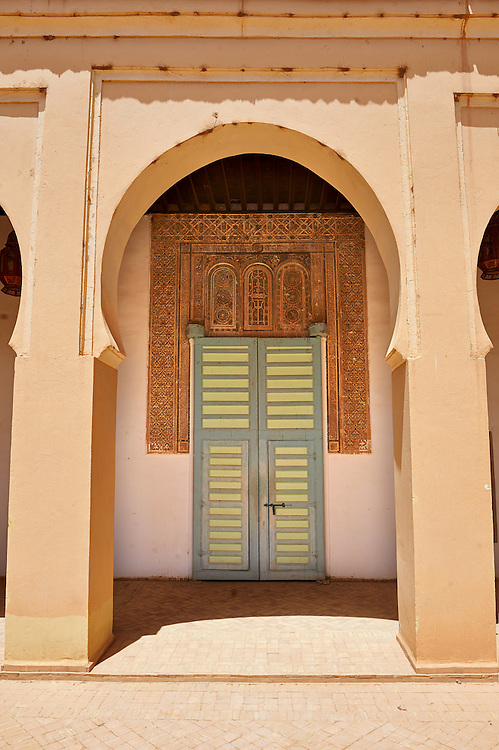 Arabesque plasterwork and doorway of the  Alaouite Ksar Fida built by Moulay Ismaïl the second ruler of the Moroccan Alaouite dynasty ( reigned 1672–1727 ). Residence of the Khalifa or Caid of Tafilalet until 1965. Tafilalet Oasis, near Rissini, Morocco .<br /> <br /> Visit our MOROCCO HISTORIC PLAXES PHOTO COLLECTIONS for more   photos  to download or buy as prints https://funkystock.photoshelter.com/gallery-collection/Morocco-Pictures-Photos-and-Images/C0000ds6t1_cvhPo<br /> .<br /> <br /> Visit our ISLAMIC HISTORICAL PLACES PHOTO COLLECTIONS for more photos to download or buy as wall art prints https://funkystock.photoshelter.com/gallery-collection/Islam-Islamic-Historic-Places-Architecture-Pictures-Images-of/C0000n7SGOHt9XWI