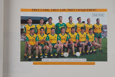 Donegal-All Ireland Senior Football Champions 1992, back row from left, Matt Gallagher, John Joe Doherty, Noel Hegarty, Gary Walsh, Brian Murray,  Barry McGowan, Declan Bonner, Donal Reid, front row from left, Martin McHugh, Joyce McMullan, Manus Boyle, Anthony Molloy (capt), Martin Gavigan, James McHugh,
