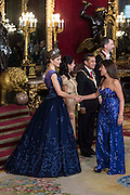 King Felipe and Queen Letizia expects Gala dinner for President of Peru Ollanta Humala and his wife Nadine Herediaat the Royal Palace in Madrid, Spain , 07 July 2015 .<br /> ©Exclusivepix Media