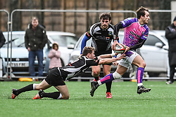 Pontypridd's Dale Stuckey is tackled by Bedwas's Tom Rowlands  - Mandatory by-line: Craig Thomas/Replay images - 30/12/2017 - RUGBY - Sardis Road - Pontypridd, Wales - Pontypridd v Bedwas - Principality Premiership