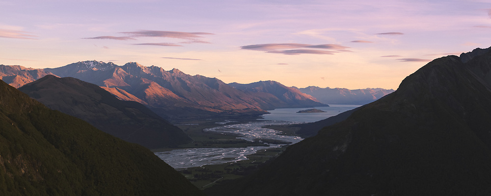 Inside the valley The Dart and Rees Rivers flows into the Lake Wakatipu, Glenorchy, New Zealand Ⓒ Davis Ulands | davisulands.com