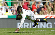 Picture by Andrew Tobin/Tobinators Ltd +44 7710 761829.26/05/2013.Christian Wade of England scores in the 2nd half during the match between England and the Barbarians at Twickenham Stadium, Twickenham.