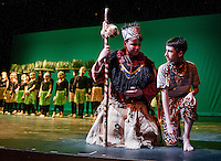 """Rafiki (Sam Drew) talks with Simba (Tyler Browne) in the grasslands to convince him to return to Pride Rock as the King during dress rehearsal for Gilford Middle School's production of """"The Lion King"""" on Monday afternoon.  (Karen Bobotas/for the Laconia Daily Sun)"""