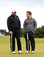 Shane Lowry and Jack Hume with the GUI National panel players who are taking part in the Walker cup next week practicing with Neil Manchip and Tony Goode at Portmarnock on Wednesday 2nd September 2015.<br /> Picture:  Thos Caffrey / www.golffile.ie