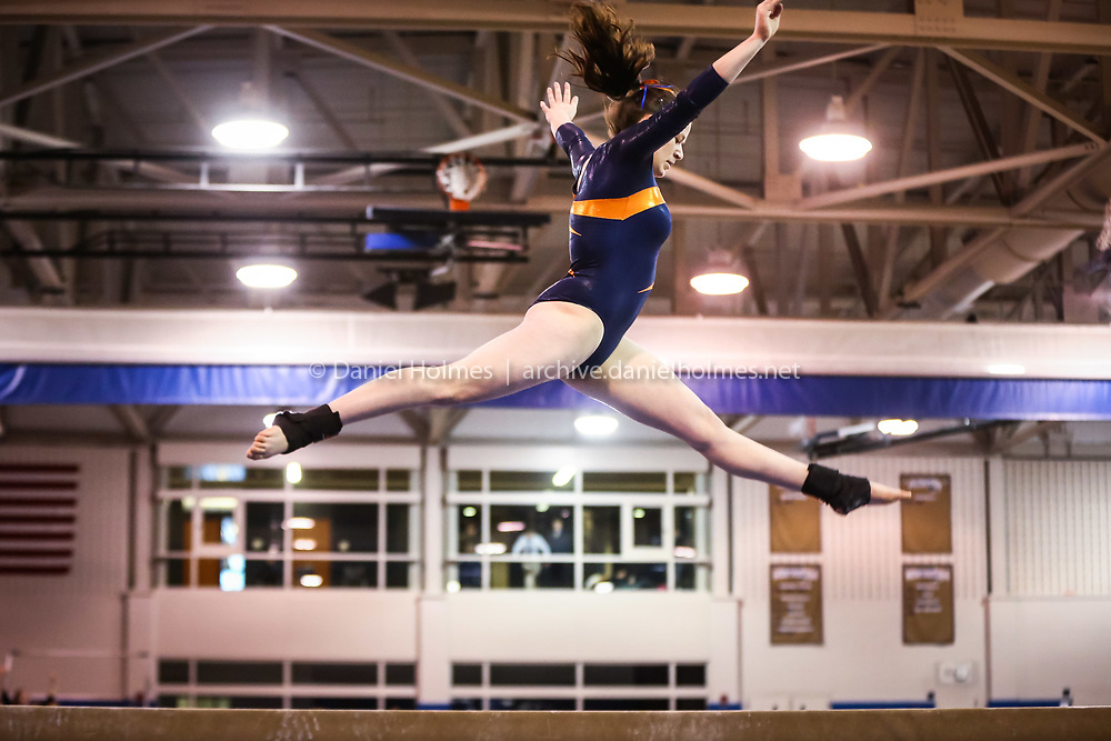 (3/1/14, SHREWSBURY, MA) Newton South's Rose Freudberg competes on the balance beam during the state gymnastics meet at Shrewsbury High School on Saturday. Daily News and Wicked Local Photo/Dan Holmes