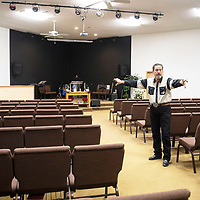 """Rev. Nathan Lynch inside the sanctuary at New Life Christian Assembly of God Church, Wednesday, Jan. 9, in Pine Dale where they will set up the dance floor for a """"Night to Shine."""" A national program sponsored by the Tim Tebow Foundation, """"Night to Shine,"""" is a prom night for special needs teens and adults."""