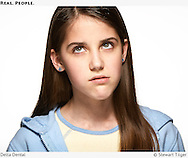 Exasperated tween with white background. Ad for Delta Dental.