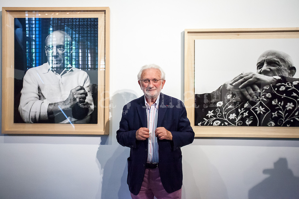 "Lucien Clergue, photograph, presents at the french institute in Madrid the opening of his exhibition called ""The Intimate Picasso""."