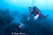 diver Bud Turpin observes erupting pillow lava at ocean entry of Kilauea Volcano Hawaii Island ( the Big Island ) Hawaii U.S.A. ( Central Pacific Ocean ) MR 381