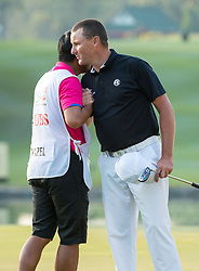 December 10, 2016 - Hong Kong, Hong Kong SAR, China - Rafa Cabrera Bello from Spain is tied on 11 under para with Australia's Sam Brazel (pictured thanking his caddy on the 18th green) as they go into the final.Day 3 of the Hong Kong Open Golf at the Hong Kong Golf Club Fanling..© Jayne Russell. (Credit Image: © Jayne Russell via ZUMA Wire)