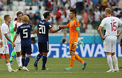 VOLGOGRAD, June 28, 2018  Japan's goalkeeper Eiji Kawashima (2nd R) greets Tomoaki Makino after the 2018 FIFA World Cup Group H match between Japan and Poland in Volgograd, Russia, June 28, 2018. Poland won 1-0. Japan advanced to the round of 16. (Credit Image: © Yang Lei/Xinhua via ZUMA Wire)