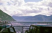 Cars on board fHardingen car and passenger ferry ship at Kvanndal, Hardanger, Norway 1970