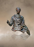 Roman bronze statue fragment of emperor Augustus, Circa 12-10 BC,  found in the Agean sea of  the Island of Euboea, Athens National Archaeological Museum. cat no X 23322.<br /> <br /> The emperor Augustus is depicted in mature age mounting a horse. He wears a tunica with verivle purple stripes (clavus purpurea) fringed with a meander pattern. Icongraphic features of bthe Prima Porta and Actuim type of statue are incorporated in this brnze statue. The right hand is raised in a gesture of offical greeting and the left hand held the horses reigns. A ring on the finger gears has engraved the symbol of Pontifles Maximus assumed by Augustus in 12 BC .<br /> <br /> If you prefer to buy from our ALAMY STOCK LIBRARY page at https://www.alamy.com/portfolio/paul-williams-funkystock/greco-roman-sculptures.html . Type -    Athens    - into LOWER SEARCH WITHIN GALLERY box - Refine search by adding a subject, place, background colour, etc.<br /> <br /> Visit our ROMAN WORLD PHOTO COLLECTIONS for more photos to download or buy as wall art prints https://funkystock.photoshelter.com/gallery-collection/The-Romans-Art-Artefacts-Antiquities-Historic-Sites-Pictures-Images/C0000r2uLJJo9_s0