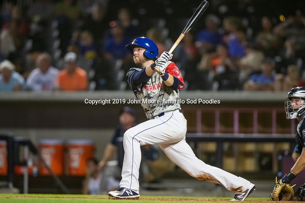 Amarillo Sod Poodles infielder Owen Miller (14) hits a walkoff home run against the Northwest Arkansas Travelers on Monday, July 22, 2019, at HODGETOWN in Amarillo, Texas. [Photo by John Moore/Amarillo Sod Poodles]