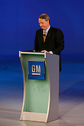 General Motors Chairman and Chief Executive Officer Rick Wagoner kicks-off the GM press conference during Media Week at the North American International Auto Show in Detroit, Michigan, Sunday, January 11, 2009...Wagoner resigned as Chairman and CEO at General Motors on March 29, 2009, at the request of the White House.